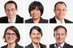ZÜRICH (3/6) - (obere Reihe von links) Roger Koeppel (neu), SVP; Min Li Marti (neu), SP; Thomas Matter (bisher), SVP. (untere Reihe von links) Mattea Meyer (neu), SP; Angelina Tiana Moser (bisher), GLP; Martin Naef (bisher), SP. (Bild: Keystone / Handout)