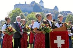 OK-Präsident Andreas Aebi spricht zum Auftakt des Eidg. Schwing- und Älplerfestes 2013 in Burgdorf zu den Gästen. (Bild: Swiss-Image / Andy Mettler)