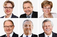 THURGAU - (obere Reihe von links) Edith Graf-Litscher (bisher), SP; Markus Hausammann (bisher), SVP; Verena Herzog (bisher), SVP. (untere Reihe von links) Hermann Hess (neu), FDP; Christian Lohr (bisher), CVP; Hansjoerg Walter (bisher), SVP. (Bild: Keystone / Handout)