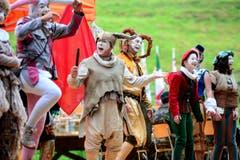 Eine Theatereinlage während den Feierlichkeiten zum Volksfest 700 Jahre Schlacht am Morgarten. (Bild: Keystone/Urs Flüeler)