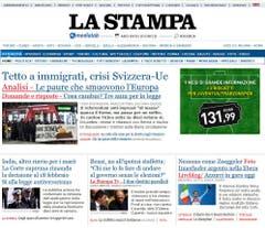 """Die italienische Zeitung """"La Stampa"""" stellt ebenfalls ernüchtert fest, dass das Tessin und die Deutschschweiz bei der Abstimmung den Ausschlag gegeben hätten, während die Westschweiz gegen die Vorlage votiert habe. Sie zitiert in der Folge kritische Stimmen. (Bild: Screenshot)"""