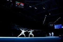 Max Heinzer scheidet im Viertelfinal gegen den Koreaner Sangyoung Park aus. (Bild: Keystone / Peter Klaunzer)