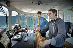 Beat Kallenbach (links) und Florian Arnold, Redaktor der Neuen Urner Zeitung. (Bild: Pius Amrein / Neue LZ)