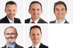 ZÜRICH (6/6) - (obere Reihe von links) Hans-Ueli Vogt (neu), SVP; Bruno Walliser (neu), SVP; Beat Walti (bisher), FDP. (untere Reihe von links) Thomas Weibel (bisher), GLP; Claudio Zanetti (neu). SVP. (Bild: Keystone / Handout)