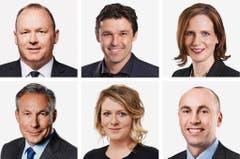 BERN (1/5) - (obere Reihe von links) Andreas Aebi (bisher), SVP; Matthias Aebischer (bisher), SP; Evi Allemann (bisher), SP. (untere Reihe von links) Adrian Amstutz (bisher), SVP; Kathrin Bertschy (bisher), GLP; Manfred Buehler (neu), SVP. (Bild: Keystone / Handout)