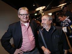 EVZ-Präsident Roland Staerkle und Marcello Weiss, der das EVZ-inhouse TV leitet. (Bild: Stefan Kaiser / Neue ZZ)