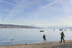 Ein Erinnerungsfoto vom schönen Herbsttag bei frühlingshaften Temperaturen am Zürichsee. (Bild: Keystone/Walter Bieri)
