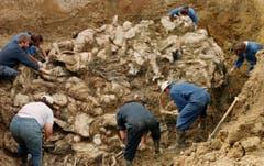 Nach dem Krieg – hier ein Foto aus dem Jahr 1996, werden im Laufe der Untersuchungen des Internationalen Gerichtshofs für Kriegsverbrechen immer neue MAssengräber entdeckt. (Bild: AP Photo / Staton R. Winter)