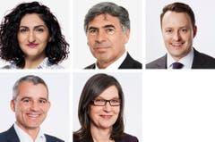 BASEL-STADT - (obere Reihe von links) Sibel Arslan (neu), Gruene; Christoph Eymann (neu), LDP; Sebastian Frehner (bisher), SVP. (untere Reihe von links) Beat Jans (bisher), SP; Silvia Schenker (bisher), SP. (Bild: Keystone / Handout)