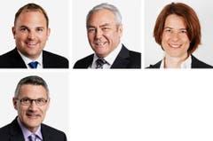 SCHWYZ - (obere Reihe von links) Marcel Dettling (neu), SVP; Alois Gmür (bisher), CVP; Petra Goessi (bisher), FDP. (untere Reihe von links) Pirmin Schwander (bisher), SVP. (Bild: Keystone / Handout)