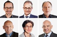 ZÜRICH (2/6) - (obere Reihe von links) Balthasar Glaettli (bisher), Gruene; Tim Guldimann (neu), SP; Thomas Hardegger (bisher), SP. (untere Reihe von links) Alfred Heer (bisher), SVP; Maja Ingold (bisher), EVP; Daniel Jositsch (bisher), SP. (Bild: Keystone / Handout)