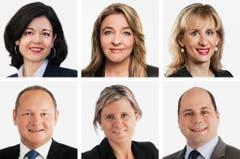ZÜRICH (5/6) - (obere Reihe von links) Regina Sauter (neu), FDP; Barbara Schmid-Federer (bisher), CVP; Priska Seiler_Graf (neu), SP. (untere Reihe von links) Juerg Stahl (bisher), SVP; Barbara Steinemann (neu), SVP; Mauro Tuena (neu), SVP. (Bild: Keystone / Handout)