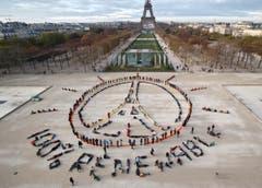 Für die Botsdchaft «100% renewable» (100% erneuerbar) wenden sich Aktivisten direkt an Flugzeugpassagiere. (Bild: AP Photo/Michel Euler)