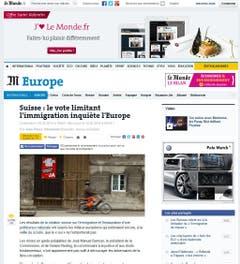 """Die Schweiz riskiere damit eine Spannung in den Beziehungen mit den europäischen Nachbarn, schrieb die französische Tageszeitung """"Le Monde"""". Zitiert wird in der Zeitung der Genfer Politologe Pascal Sciarini, gemäss dem die Beziehungen zwischen der Schweiz und der EU wieder bei Null beginnen und ein Chaos provoziert werden könnte. (Bild: Screenshot)"""