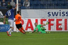 Lausanne Sports Francesco Margiotta (M) erzielt das 3:1. (Bild: Philipp Schmidli / Luzerner Zeitung)
