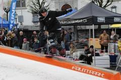 Impressionen vom 10. Winkelride auf dem Stanser Dorfplatz. Im Bild: Jay Scherzinger aus Luzern. 19. November 2016, Bild Oliver Mattmann (Bild: Oliver Mattmann)
