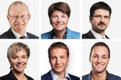 WALLIS (1/2) - (obere Reihe von links) Jean-Luc Addor (neu), SVP; Viola Amherd (bisher), CVPO; Yannick Buttet (bisher), CVPU. (untere Reihe von links) Geraldine Marchand-Balet (neu), CVPU; Philippe Nantermod (neu), FDP; Mathias Reynard (bisher), SP. (Bild: Keystone / Handout)