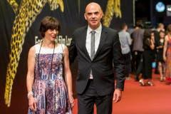 Alain Berset kommt mit seiner Frau Muriel nach Locarno. (Bild: Keystone)