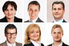 TESSIN (1/2) - (obere Reihe von links) Marina Carobbio Guscetti (bisher), SP; Ignazio Cassis (bisher), FDP; Marco Chiesa (neu), SVP. (untere Reihe von links) Giovanni Merlini (bisher), FDP; Roberta Pantani (bisher), LEGA; Lorenzo Quadri (bisher), LEGA. (Bild: Keystone / Handout)