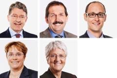 GRAUBÜNDEN - (obere Reihe von links) Heinz Brand (bisher), SVP; Duri Campell (neu), BDP; Martin Candinas (bisher), CVP. (untere Reihe von links) Magdalena Martullo Blocher (neu), SVP; Silva Semadeni (bisher), SP. (Bild: Keystone / Handout)