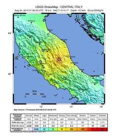 Das Epizentrum des Erdbebens mit einer Stärke von 6.2 auf der Richterskala befindet sich sichsüdöstlich der Stadt Norcia in der Provinz Perugia. (Bild: USGS / Handout)