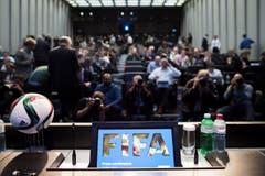 Anlässlich der Verhaftungen wurde am FIFA-Hauptquartier in Zürich eine Pressekonferenz einberufen. (Bild: Ennio Leanza / Keystone)