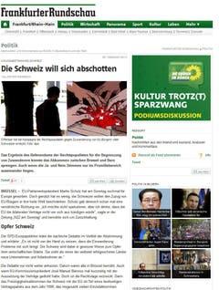 """Mit """"Schweizer legen sich mit der EU an"""" übertitelte die """"Frankfurter Rundschau"""" ihren Bericht. Das Ergebnis könnte das Abkommen zwischen Brüssel und Bern sprengen. Zunächst müssten aber beide Seiten erst einmal mit dem Ergebnis umgehen. """"Nun muss also wieder geredet werden. Bilateral. Stets mit Blick auf die Guillotine"""", heisst es weiter. (Bild: Screenshot)"""