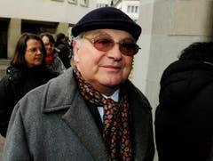 Jörg Schneider im Jahr 2011 bei der Trauerfeier für Schauspielerkollegin Stephanie Glaser. (Bild: Keystone)