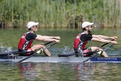 Die Schweizer Michael Schmid (rechts) und Daniel Wiederkehr (links) im Leichtgewichts-Doppelzweier. (Double Sculls) (Bild: Keystone / Alexandra Wey)