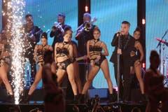 Auch Robbie Williams hatte seinen Auftritt. (Bild: Keystone)
