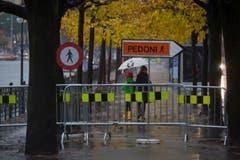 Uferpromenade in Lugano gesperrt. (Bild: Keystone)
