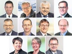 Regierungsratswahlen im Kanton Schwyz, obere Reihe von links: André Rüegsegger (SVP, bisher), Andreas Barraud (SVP, bisher), Othmar Reichmuth (CVP, bisher), Kaspar Michel (FDP, bisher). Mittlere Reihe von links: Michael Stähli (CVP, neu), René Bünter (SVP, neu), Paul Furrer (SP, neu) und Roland Urech (parteilos, neu). Untere Reihe von links: Petra Steimen-Rickenbacher, (FDP, neu), Birgitta Michel Thenen (Grüne, neu) und Andreas Meyerhans (CVP, neu). (Bild: Bote der Urschweiz)