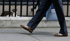 Da staunt selbst Kater Larry. Theresa May im Leopardenlook vor der Downing Street 10. (Bild: Kirsty Wigglesworth/AP)