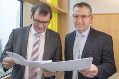 Die beiden CVP-Kandidaten Michael Stähli (rechts) und Andreas Meyerhans lieferten sich ein hartes Kopf-an-Kopf-Rennen um den letzten Regierungsratssitz. (Bild: Keystone)
