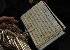 Blick ins Notenbüechli von Peter Jöri, einem der Neunermusikanten. (Bild: Robert Hess (OZ))
