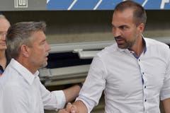 Der Luzerner Trainer Markus Babbel (rechts) und der Basler Trainer Urs Fischer begrüssen sich vor dem Spiel. (Bild: Keystone / Walter Bieri)
