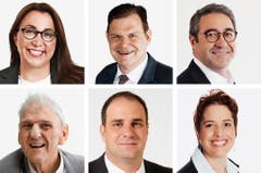 WAADT (1/3) - (obere Reihe von links) Cesla Amarelle (bisher), SP; Claude Begle (neu), CVP; Frederic Borloz (neu), FDP. (untere Reihe von links) Daniel Brelaz (neu), Gruene; Michael Buffat (neu), SVP; Isabelle Chevalley (bisher), GLP. (Bild: Keystone / Handout)