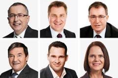 ST. GALLEN (1/2) - (obere Reihe von links) Thomas Ammann (neu), CVP; Toni Brunner (bisher), SVP; Roland Büchel (bisher), SVP. (untere Reihe von links) Jakob Büchler (bisher), CVP; Marcel Dobler (neu), FDP; Claudia Friedl (bisher), SP. (Bild: Keystone / Handout)