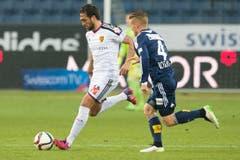 Matias Delgado, links, gegen den Luzerner Olivier Bozanic (Bild: Keystone)