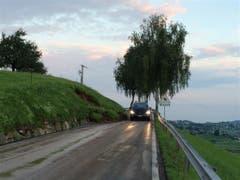 Auf der Hüttenerstrasse zwischen Hütten und Schindellegi wurden Strassenböschungen aufgerissen... (Bild: Baudirektion Schwyz)
