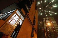 Feuerwerk am Nachthimmel von Peking. (Bild: Keystone)