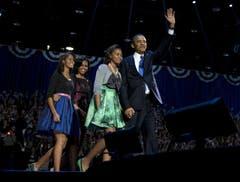 Präsident Barack Obama mit Frau Michelle und seinen Töchtern Malia und Sasha. (Bild: Keystone)