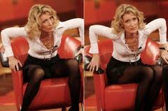 """Die Kombo zeigt die Schauspielerin Maria Furtwängler, als sie am 9. Dezember 2007 in der RTL-Jahresrückblicksendung """"2007! Menschen, Bilder, Emotionen"""" im NOB-Fernsehstudio in Hürth bei Köln zeigt, wie man als Frau aus einem Sessel nicht (links) aufstehen soll und zeigt es rechts korrekt. (Bild: Keystone)"""
