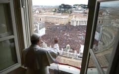 """Das erste Angelusgebet am 17. März. Der neue Papst beginnt es mit den Worten """"Buon giorno"""". (Bild: Keystone)"""