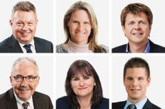 BERN (2/5) (obere Reihe von links) Urs Gasche (bisher), BDP; Andrea Geissbuehler (bisher), SVP; Juerg Grossen (bisher), GLP. (untere Reihe von links) Hans Grunder (bisher), BDP; Christine Haesler (bisher), Grüne; Erich Hess (neu), SVP. (Bild: Keystone / Handout)