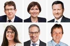 BERN (4/5) - (obere Reihe von links) Albert Roesti (bisher), SVP; Regula Rytz (bisher), Gruene; Werner Salzmann (neu), SVP. (untere Reihe von links) Marianne Streiff-Feller (bisher), EVP; Alexander Tschäppät (bisher), SP; Erich Von Siebenthal (bisher), SVP. (Bild: Keystone / Handout)