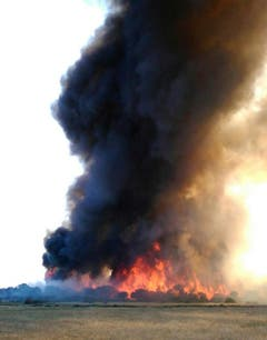 Nach Angaben der Feuerwehr wurden bis Donnerstag 60 Prozent der Flammen unter Kontrolle gebracht. (Bild: Keystone)