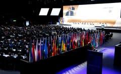 So, die Halle ist voll, der Kongress beginne. (Bild: AP Photo / Michael Probst)