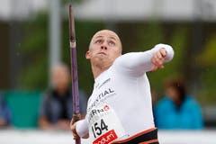 Lukas Wieland wirft den Speer auf 67,53 und wird Fünfter und Letzter. (Bild: Keystone / Alexandra Wey)