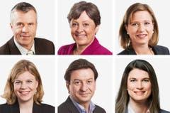 BERN (3/5) - (obere Reihe von links) Lorenz Hess (bisher), BDP; Margret Kiener Nellen (bisher), SP; Christa Markwalder (bisher), FDP. (untere Reihe von links) Nadine Masshardt (bisher), SP; Corrado Pardini (bisher), SP; Nadja Pieren (bisher), SVP. (Bild: Keystone / Handout)